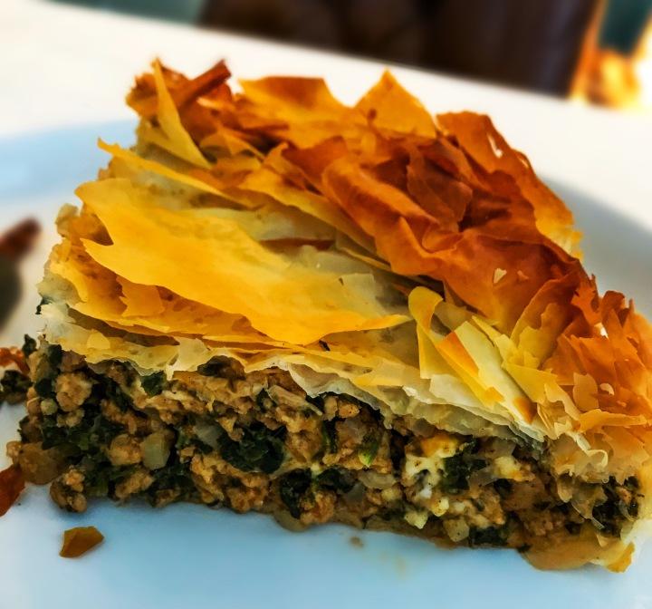 Chicken, Spinach, Feta, and Filo pastry PieRecipe!